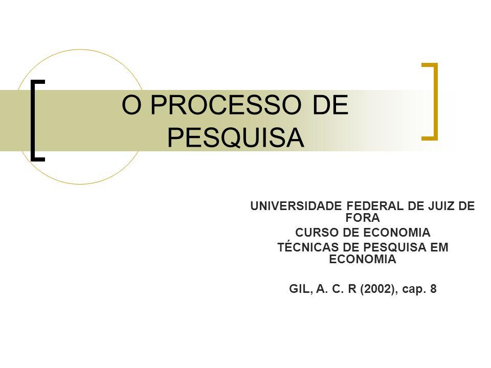 O PROCESSO DE PESQUISA UNIVERSIDADE FEDERAL DE JUIZ DE FORA CURSO DE ECONOMIA TÉCNICAS DE PESQUISA EM ECONOMIA GIL, A. C. R (2002), cap. 8