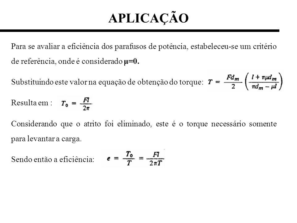 Para se avaliar a eficiência dos parafusos de potência, estabeleceu-se um critério de referência, onde é considerado μ=0. Substituindo este valor na e