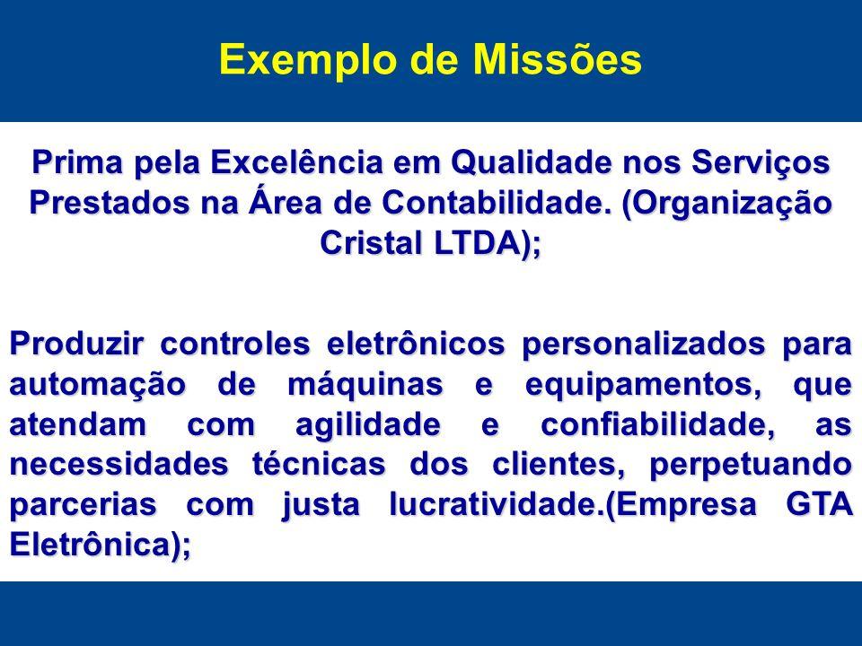 Exemplo de Missões Prima pela Excelência em Qualidade nos Serviços Prestados na Área de Contabilidade. (Organização Cristal LTDA); Produzir controles