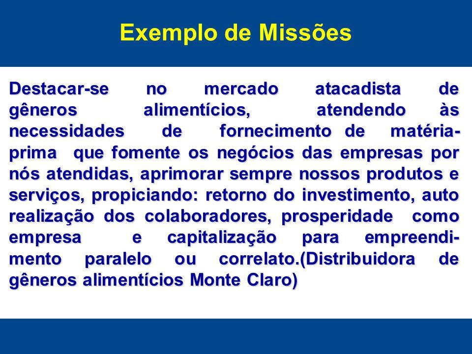 Exemplo de Missões Destacar-se no mercado atacadista de gêneros alimentícios, atendendo às necessidades de fornecimento de matéria- prima que fomente