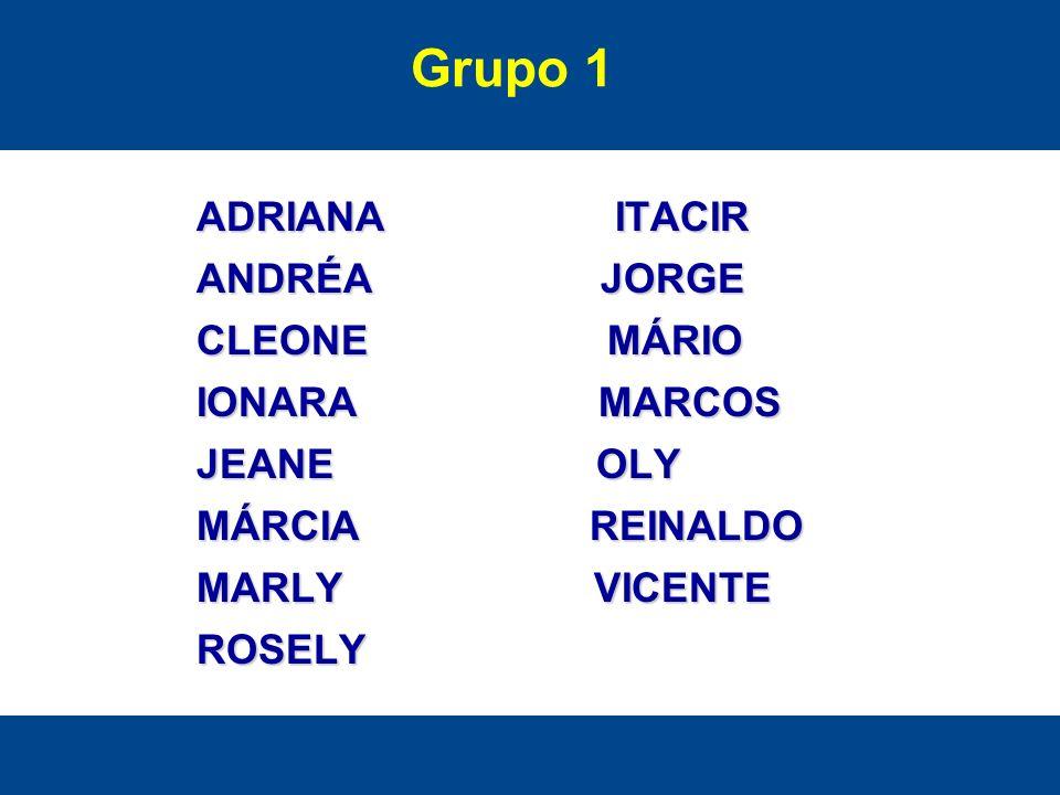 Grupo 1 ADRIANA ITACIR ANDRÉA JORGE CLEONE MÁRIO IONARA MARCOS JEANE OLY MÁRCIA REINALDO MARLY VICENTE ROSELY