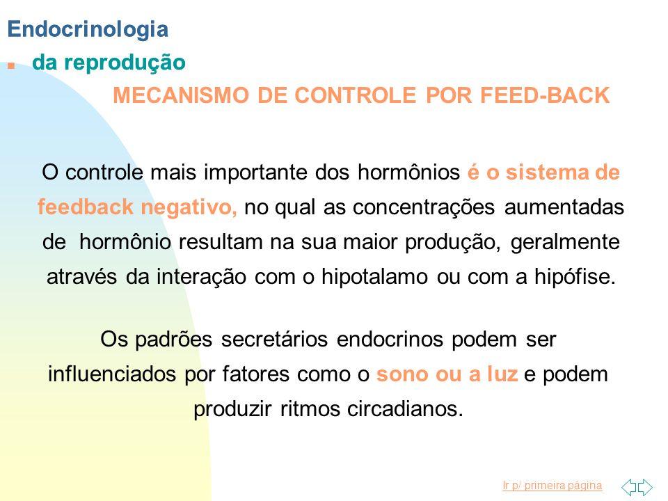 Ir p/ primeira página Endocrinologia n da reprodução O controle mais importante dos hormônios é o sistema de feedback negativo, no qual as concentraçõ