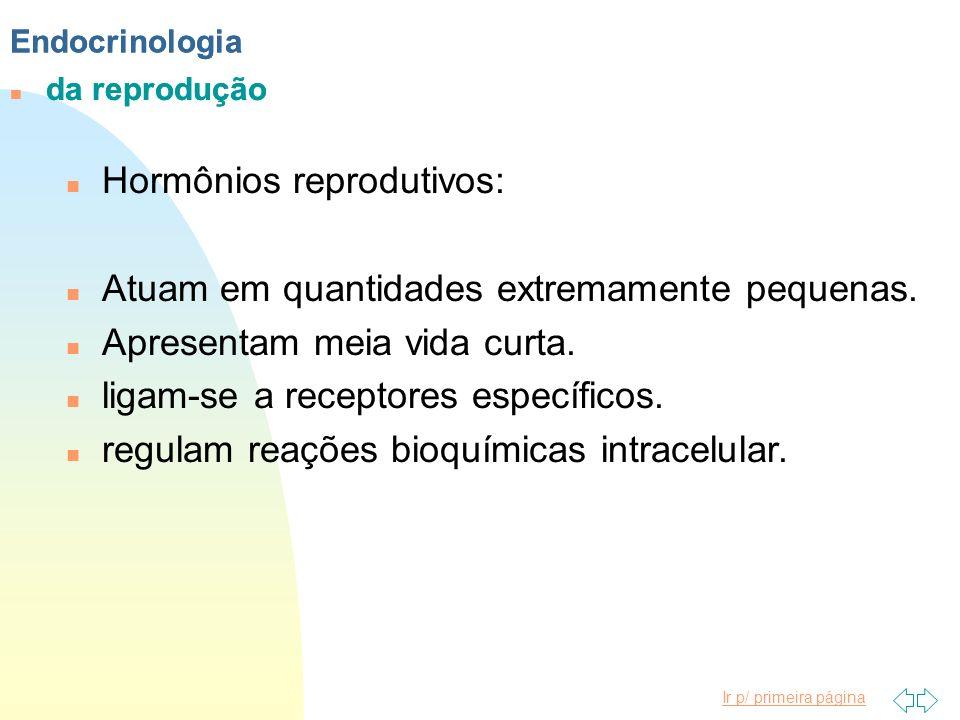 Ir p/ primeira página Endocrinologia n da reprodução Endocrinologia n da reprodução n Hormônios reprodutivos: n Atuam em quantidades extremamente pequ