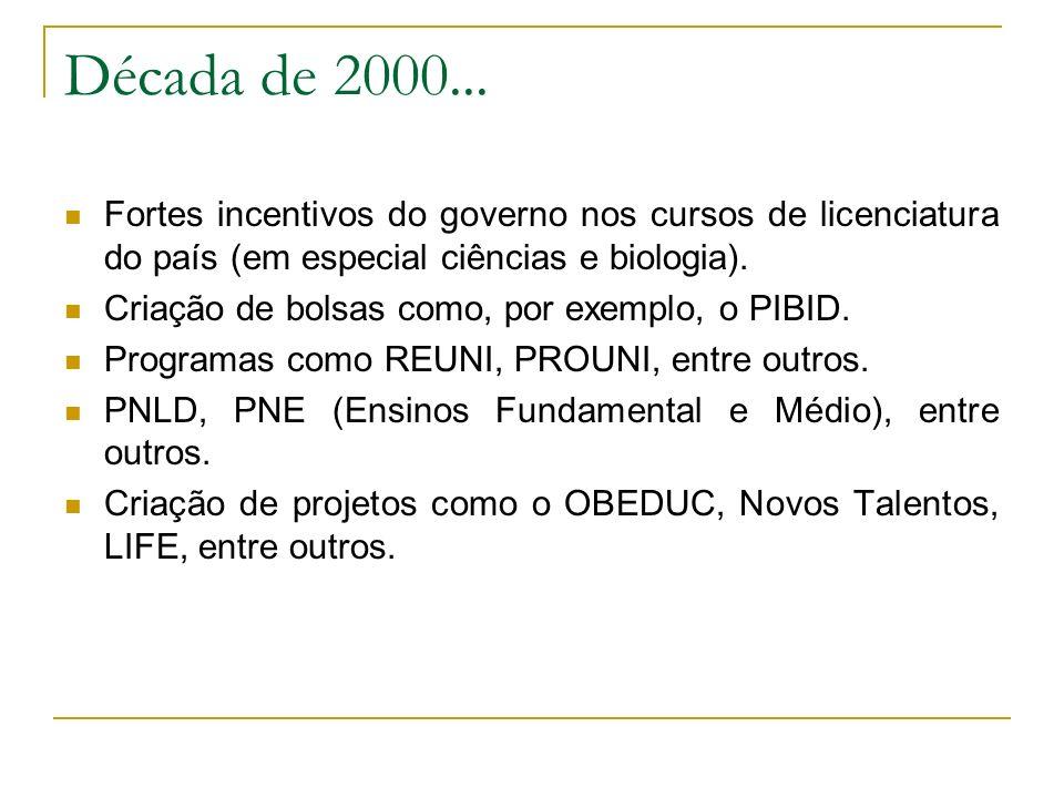 Década de 2000... Fortes incentivos do governo nos cursos de licenciatura do país (em especial ciências e biologia). Criação de bolsas como, por exemp