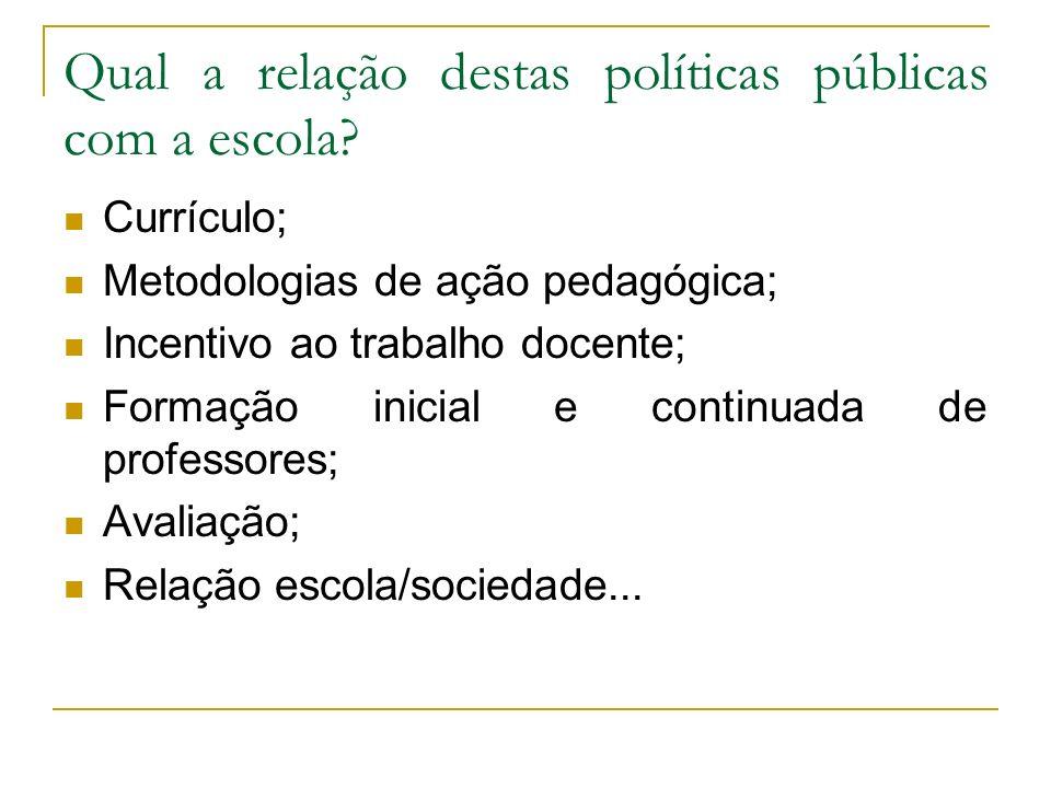 Qual a relação destas políticas públicas com a escola? Currículo; Metodologias de ação pedagógica; Incentivo ao trabalho docente; Formação inicial e c
