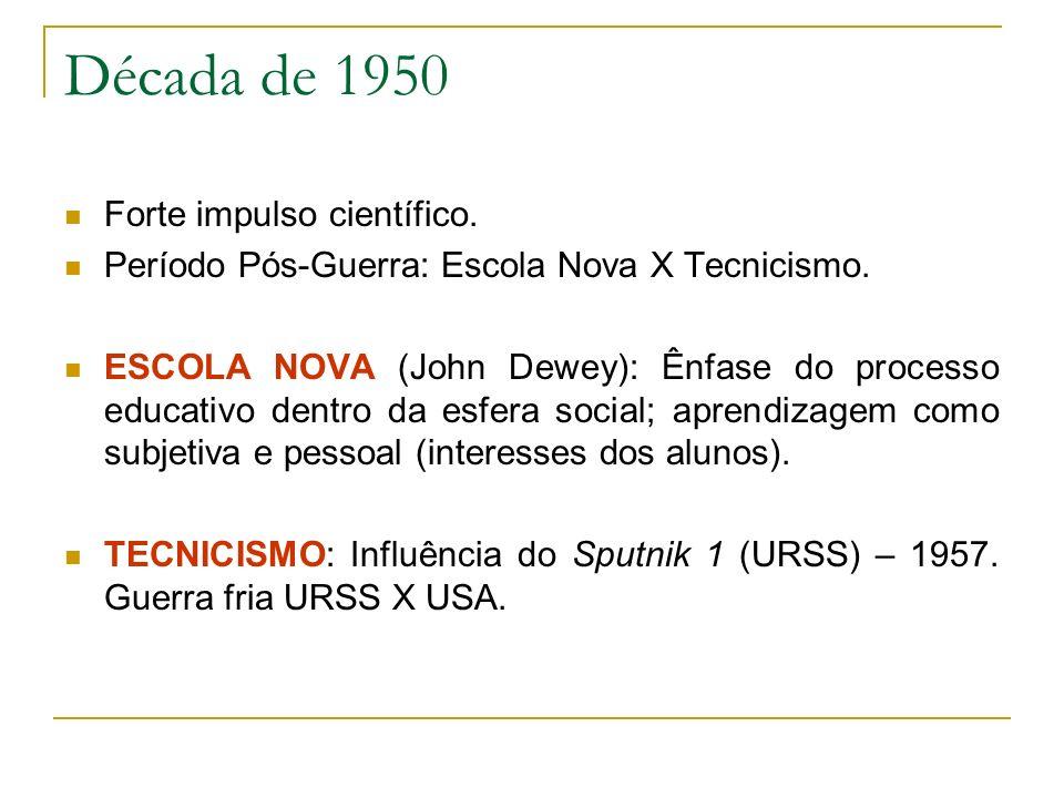 Década de 1950 Forte impulso científico. Período Pós-Guerra: Escola Nova X Tecnicismo. ESCOLA NOVA (John Dewey): Ênfase do processo educativo dentro d