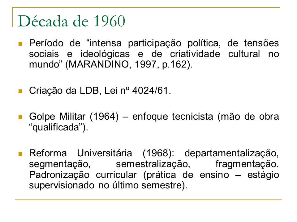 Década de 1960 Período de intensa participação política, de tensões sociais e ideológicas e de criatividade cultural no mundo (MARANDINO, 1997, p.162)