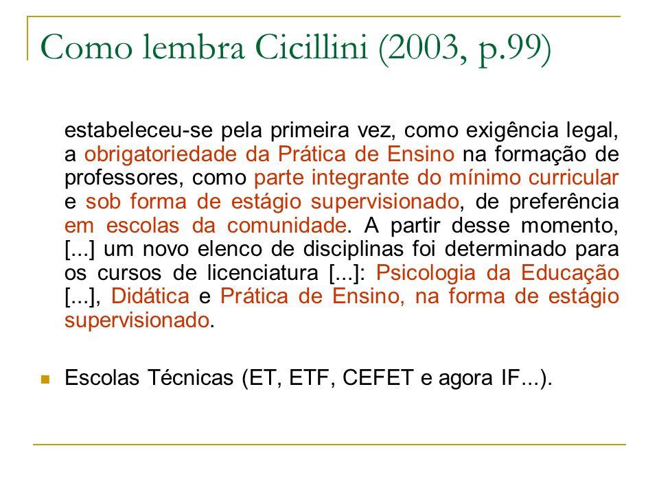 Como lembra Cicillini (2003, p.99) estabeleceu-se pela primeira vez, como exigência legal, a obrigatoriedade da Prática de Ensino na formação de profe