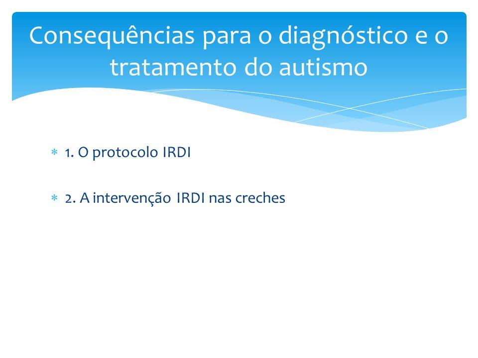 1. O protocolo IRDI 2. A intervenção IRDI nas creches Consequências para o diagnóstico e o tratamento do autismo