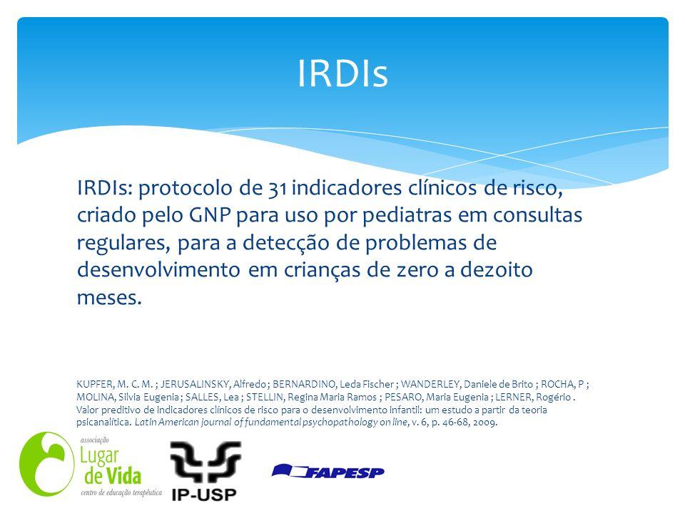 IRDIs: protocolo de 31 indicadores clínicos de risco, criado pelo GNP para uso por pediatras em consultas regulares, para a detecção de problemas de d
