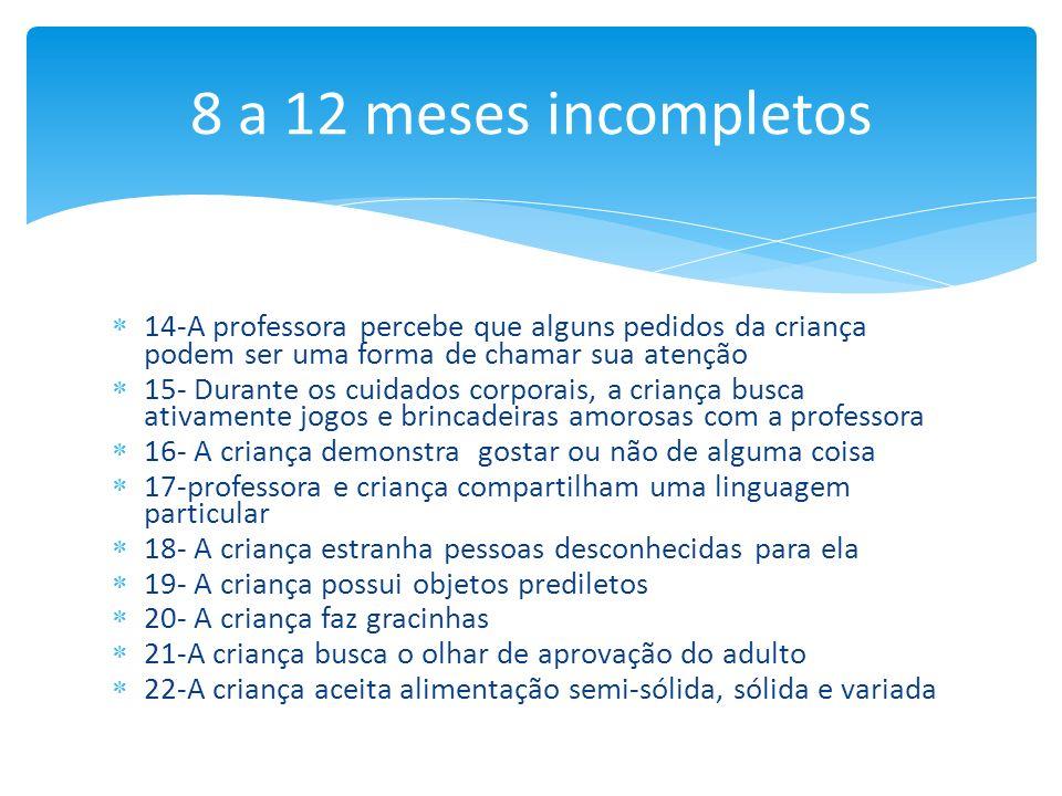 14-A professora percebe que alguns pedidos da criança podem ser uma forma de chamar sua atenção 15- Durante os cuidados corporais, a criança busca ati