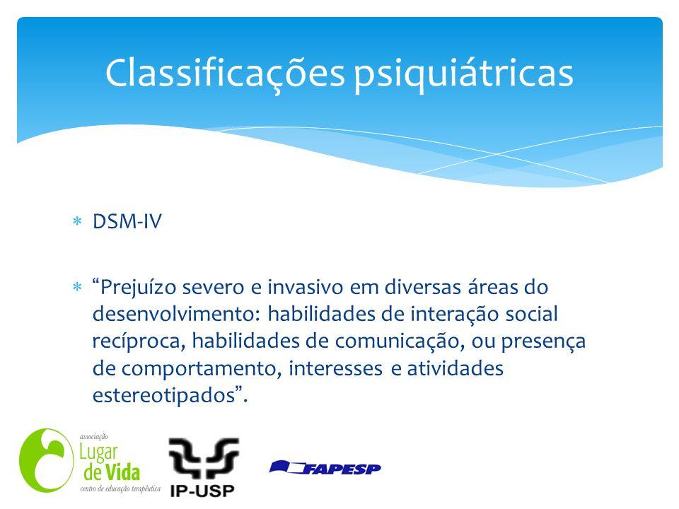 DSM-IV Prejuízo severo e invasivo em diversas áreas do desenvolvimento: habilidades de interação social recíproca, habilidades de comunicação, ou pres