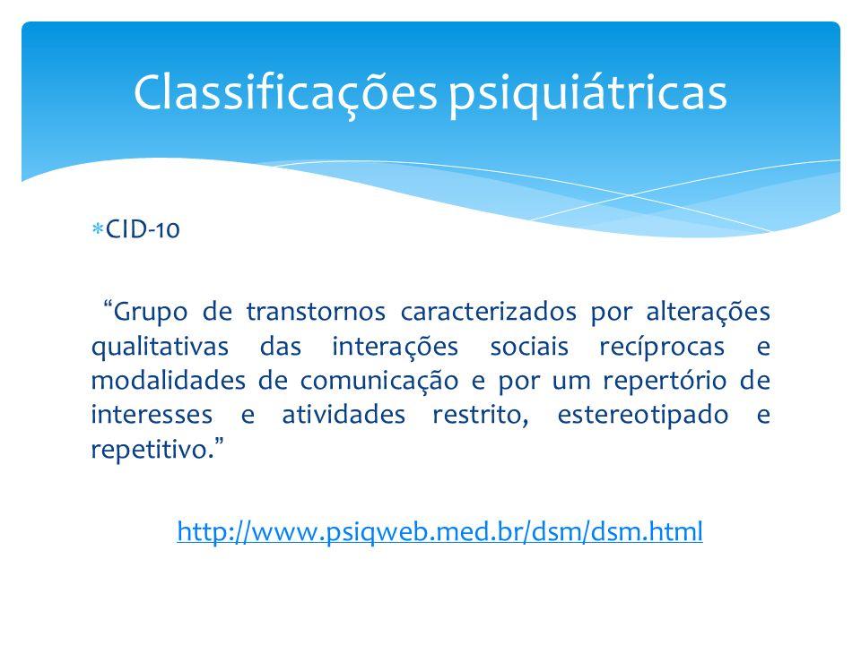 CID-10 Grupo de transtornos caracterizados por alterações qualitativas das interações sociais recíprocas e modalidades de comunicação e por um repertó