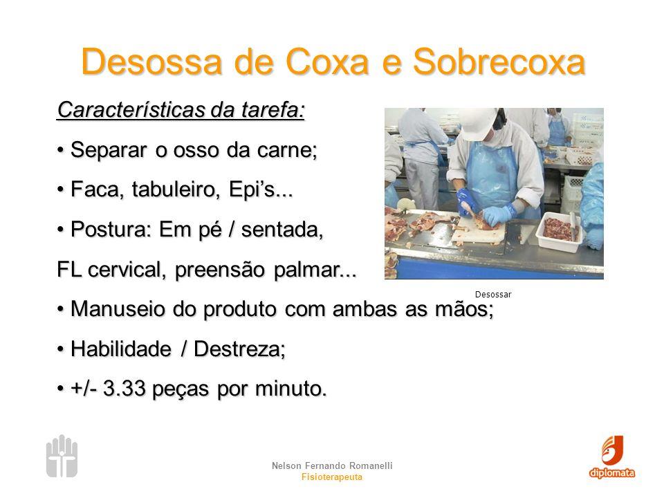 Nelson Fernando Romanelli Fisioterapeuta Desossa de Coxa e Sobrecoxa Características da tarefa: Separar o osso da carne; Separar o osso da carne; Faca