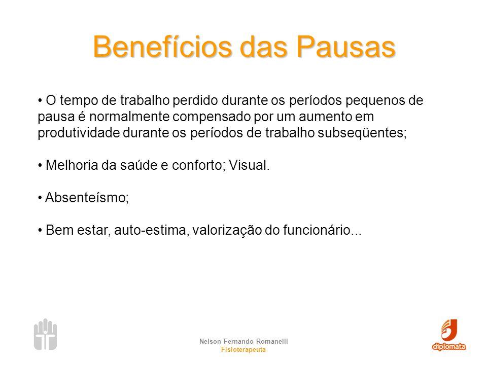 Nelson Fernando Romanelli Fisioterapeuta Benefícios das Pausas O tempo de trabalho perdido durante os períodos pequenos de pausa é normalmente compens