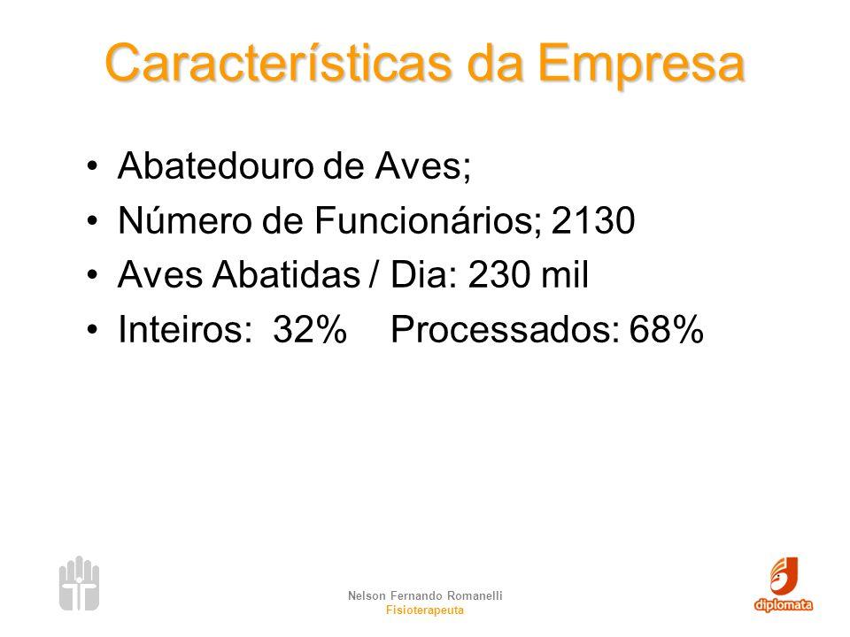 Nelson Fernando Romanelli Fisioterapeuta Características da Empresa Abatedouro de Aves; Número de Funcionários; 2130 Aves Abatidas / Dia: 230 mil Inte