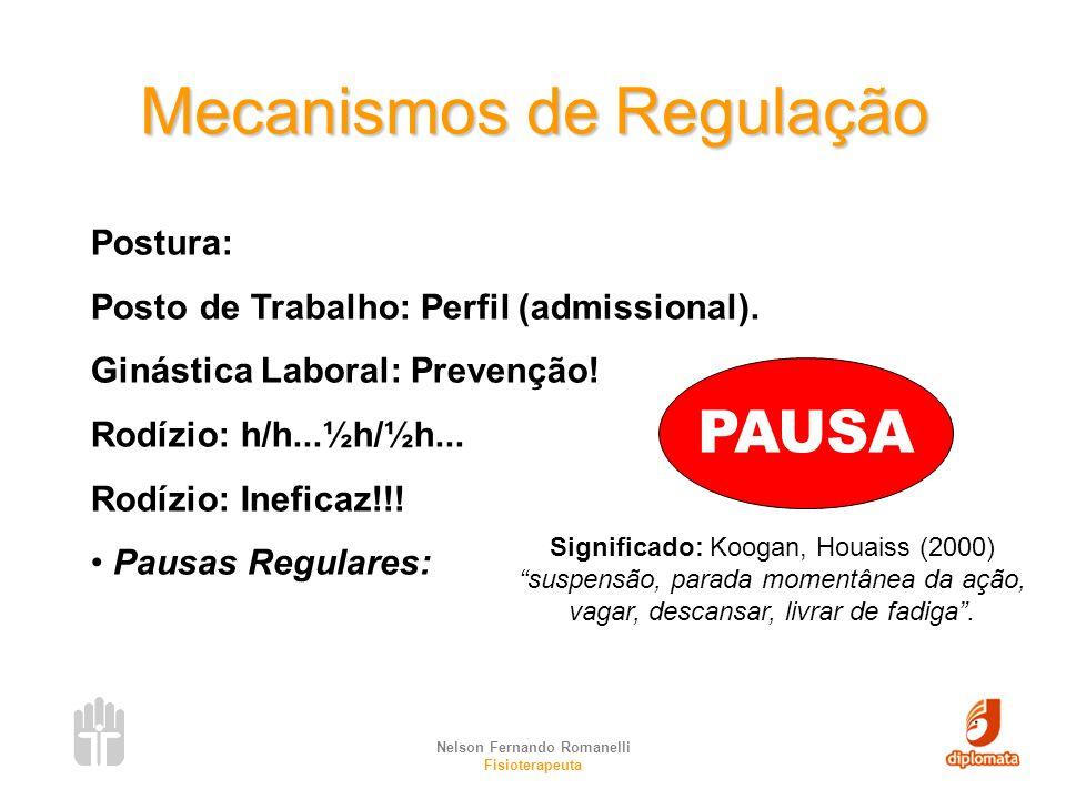 Nelson Fernando Romanelli Fisioterapeuta Mecanismos de Regulação Postura: Posto de Trabalho: Perfil (admissional). Ginástica Laboral: Prevenção! Rodíz