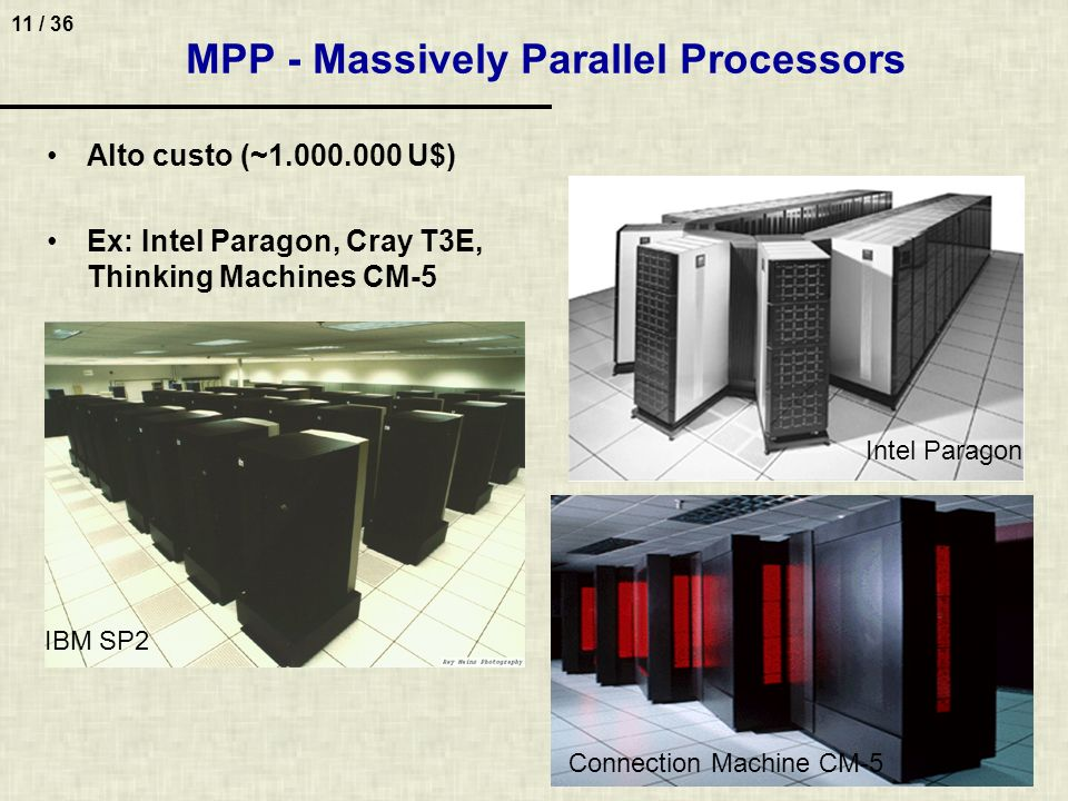 11 / 36 IBM SP2 Intel Paragon Connection Machine CM-5 Alto custo (~1.000.000 U$) Ex: Intel Paragon, Cray T3E, Thinking Machines CM-5 MPP - Massively P