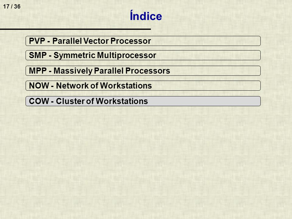 17 / 36 Índice PVP - Parallel Vector Processor SMP - Symmetric Multiprocessor MPP - Massively Parallel Processors NOW - Network of Workstations COW -