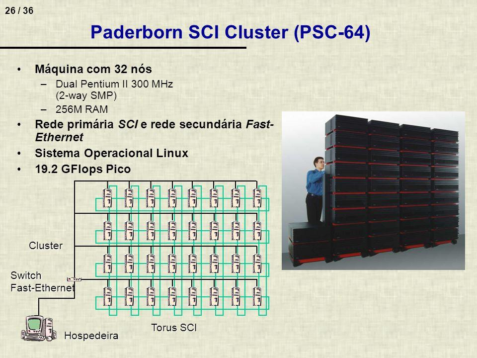 26 / 36 Paderborn SCI Cluster (PSC-64) Máquina com 32 nós –Dual Pentium II 300 MHz (2-way SMP) –256M RAM Rede primária SCI e rede secundária Fast- Eth