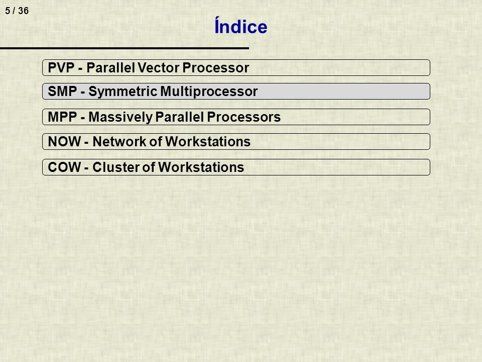 5 / 36 Índice PVP - Parallel Vector Processor SMP - Symmetric Multiprocessor MPP - Massively Parallel Processors NOW - Network of Workstations COW - C