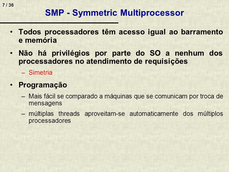 7 / 36 Todos processadores têm acesso igual ao barramento e memória Não há privilégios por parte do SO a nenhum dos processadores no atendimento de re