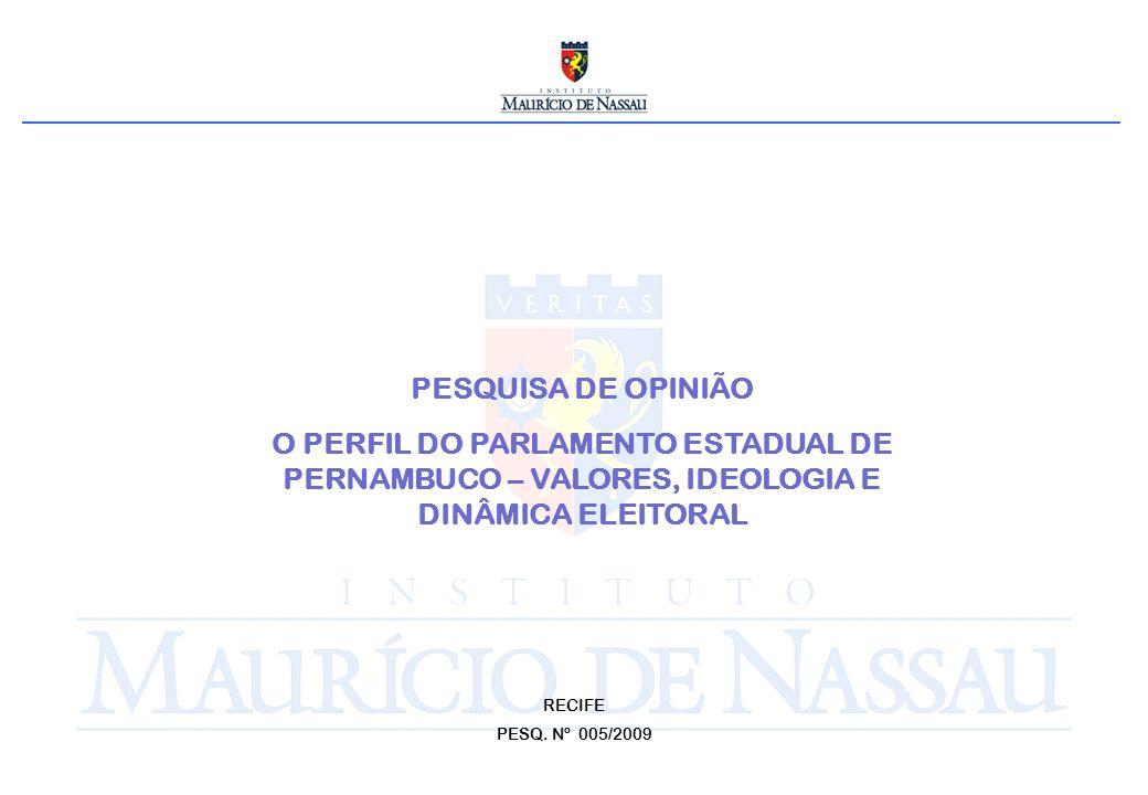 PESQUISA DE OPINIÃO O PERFIL DO PARLAMENTO ESTADUAL DE PERNAMBUCO – VALORES, IDEOLOGIA E DINÂMICA ELEITORAL RECIFE PESQ.