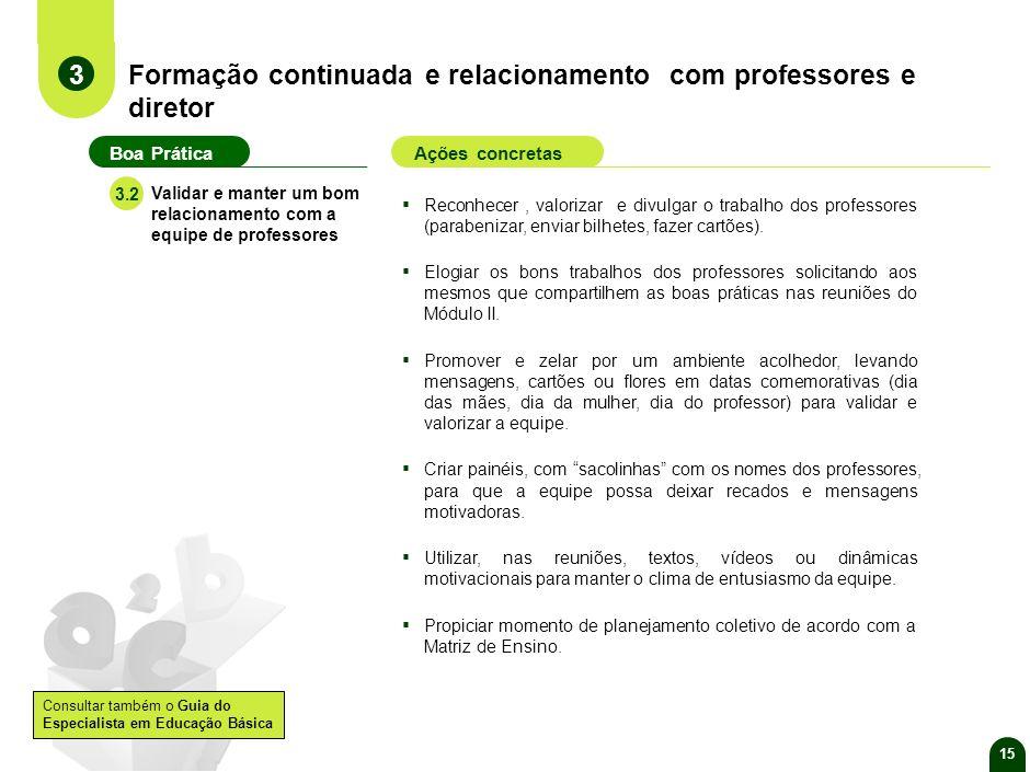 14 Formação continuada e relacionamento com professores e diretor 3 Boa PráticaAções concretas Contribuir para o desenvolvimento pessoal e profissiona