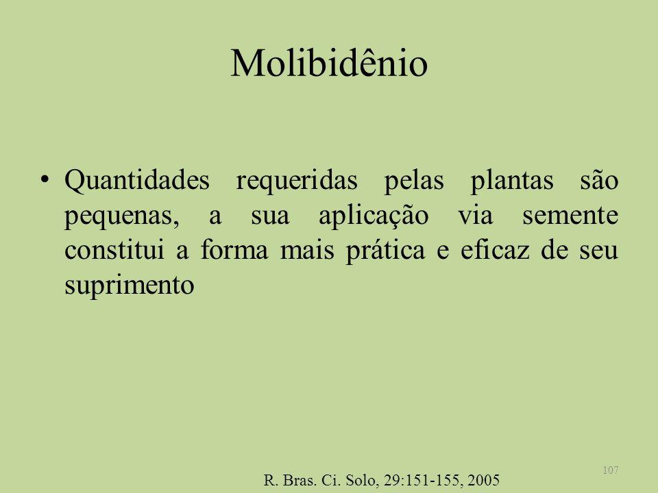 Molibidênio Quantidades requeridas pelas plantas são pequenas, a sua aplicação via semente constitui a forma mais prática e eficaz de seu suprimento 1