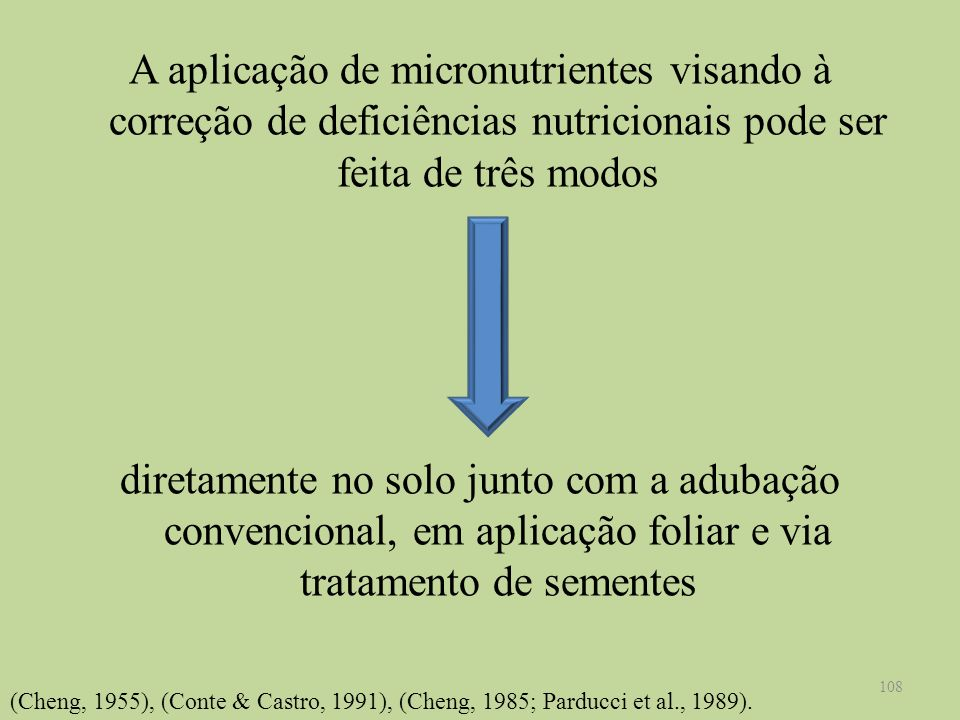A aplicação de micronutrientes visando à correção de deficiências nutricionais pode ser feita de três modos diretamente no solo junto com a adubação c