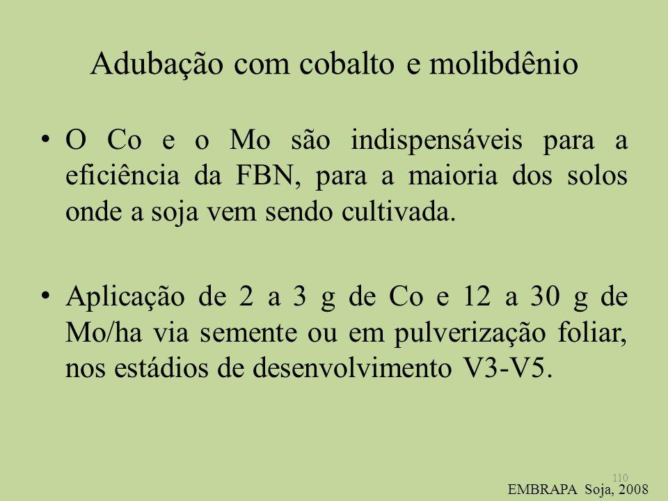 Adubação com cobalto e molibdênio O Co e o Mo são indispensáveis para a eficiência da FBN, para a maioria dos solos onde a soja vem sendo cultivada. A
