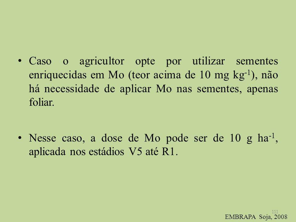 Caso o agricultor opte por utilizar sementes enriquecidas em Mo (teor acima de 10 mg kg -1 ), não há necessidade de aplicar Mo nas sementes, apenas fo