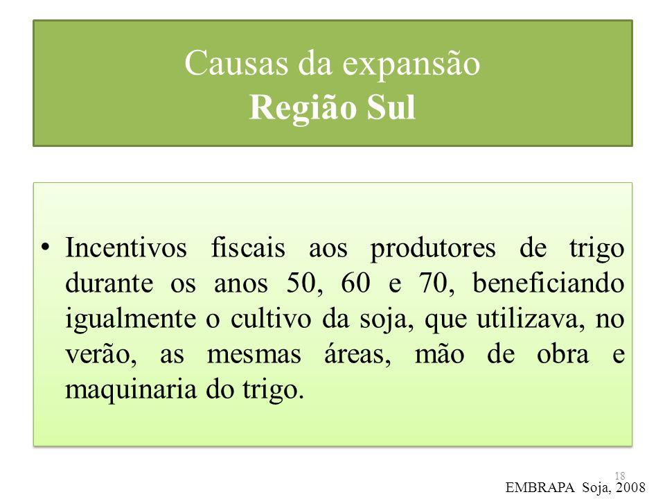Causas da expansão Região Sul Incentivos fiscais aos produtores de trigo durante os anos 50, 60 e 70, beneficiando igualmente o cultivo da soja, que u
