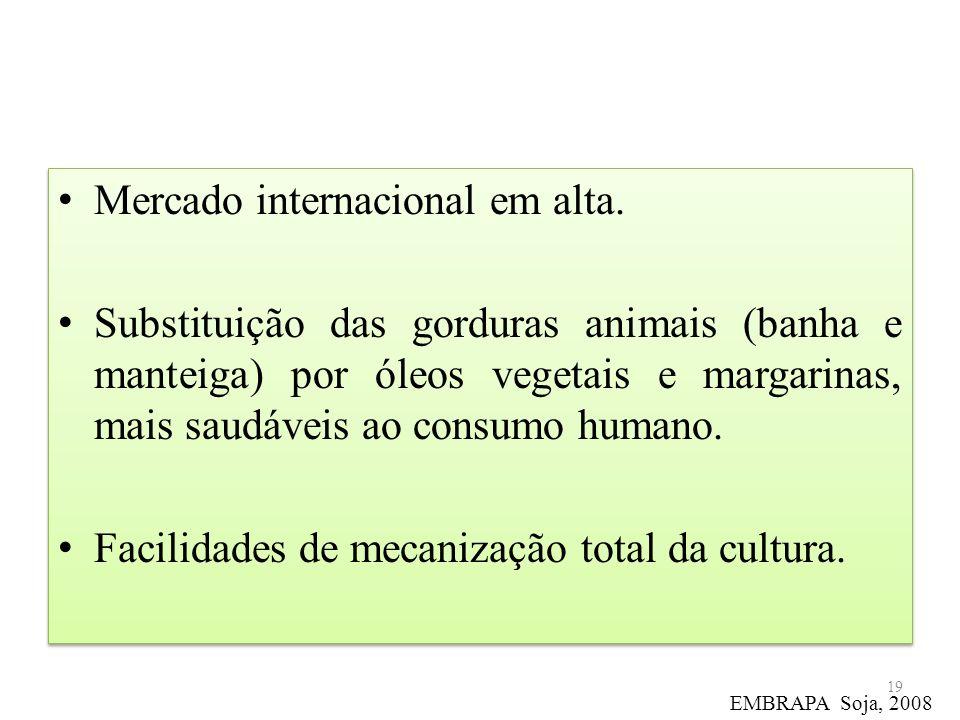Mercado internacional em alta. Substituição das gorduras animais (banha e manteiga) por óleos vegetais e margarinas, mais saudáveis ao consumo humano.