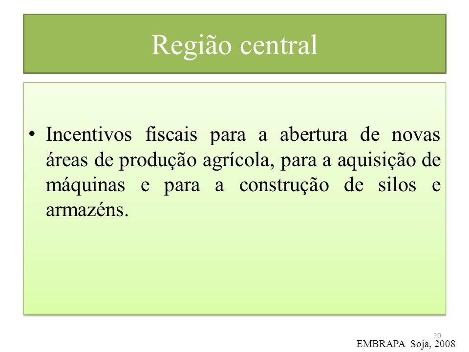 Região central Incentivos fiscais para a abertura de novas áreas de produção agrícola, para a aquisição de máquinas e para a construção de silos e arm