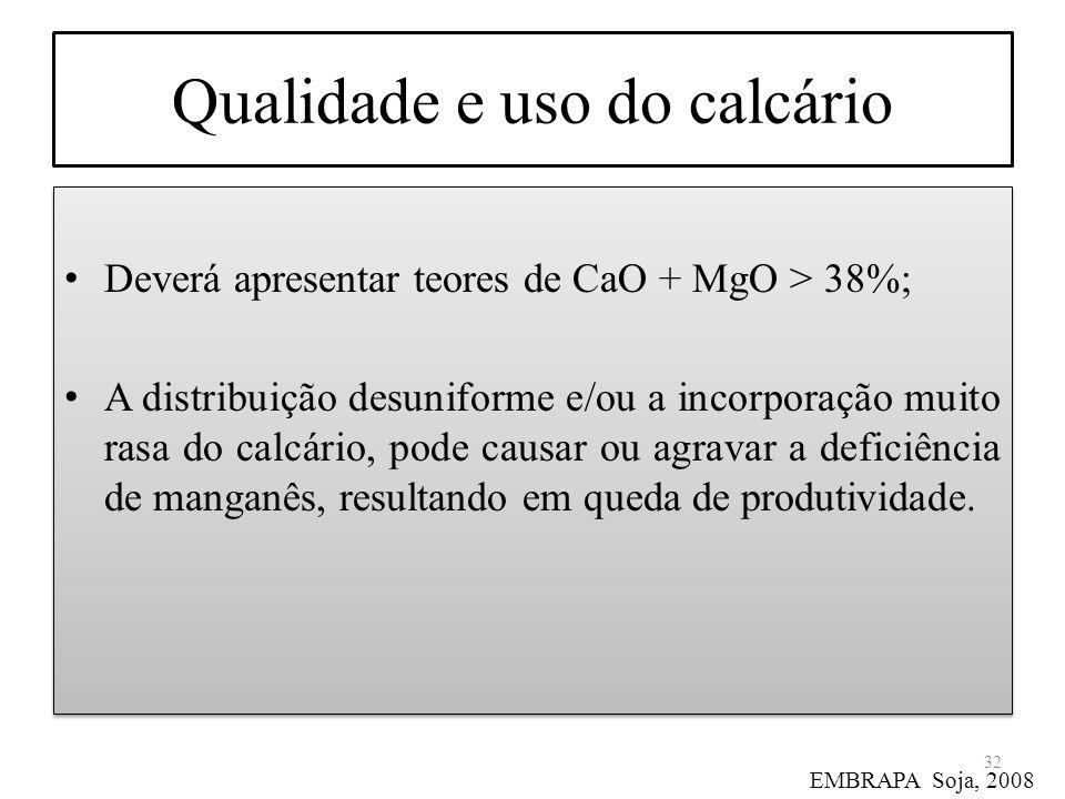Qualidade e uso do calcário Deverá apresentar teores de CaO + MgO > 38%; A distribuição desuniforme e/ou a incorporação muito rasa do calcário, pode c