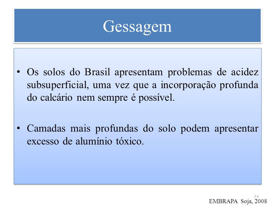 Gessagem Os solos do Brasil apresentam problemas de acidez subsuperficial, uma vez que a incorporação profunda do calcário nem sempre é possível. Cama
