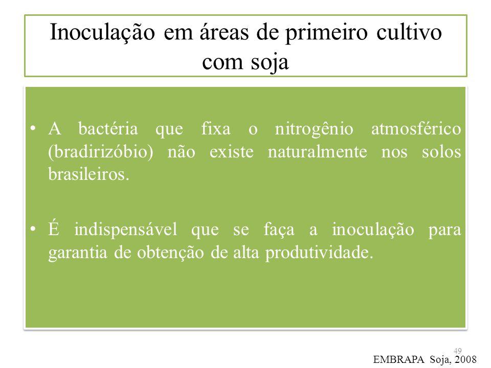 Inoculação em áreas de primeiro cultivo com soja A bactéria que fixa o nitrogênio atmosférico (bradirizóbio) não existe naturalmente nos solos brasile