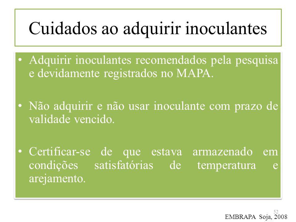 Cuidados ao adquirir inoculantes Adquirir inoculantes recomendados pela pesquisa e devidamente registrados no MAPA. Não adquirir e não usar inoculante