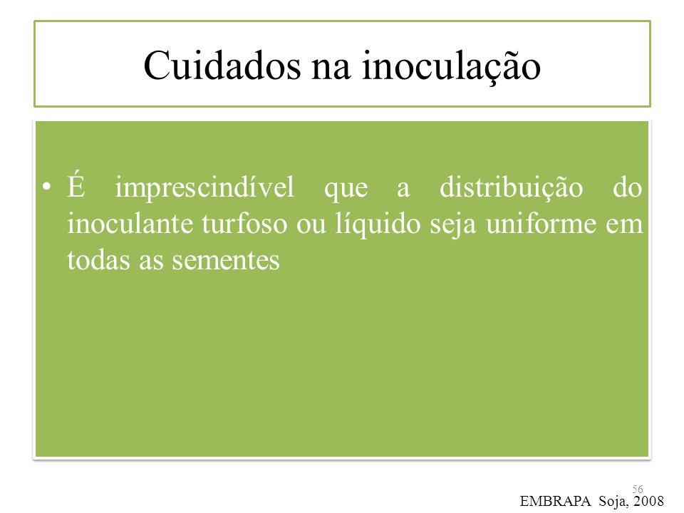 Cuidados na inoculação É imprescindível que a distribuição do inoculante turfoso ou líquido seja uniforme em todas as sementes 56 EMBRAPA Soja, 2008