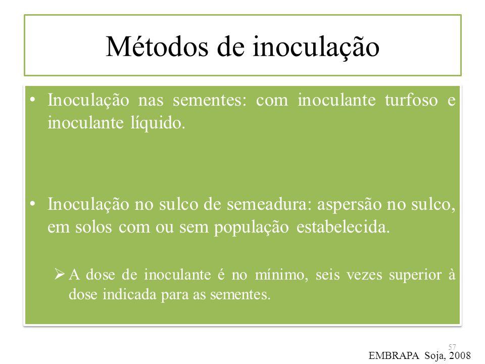 Métodos de inoculação Inoculação nas sementes: com inoculante turfoso e inoculante líquido. Inoculação no sulco de semeadura: aspersão no sulco, em so