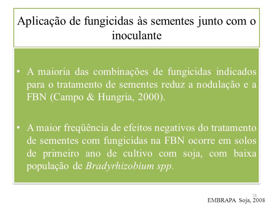 Aplicação de fungicidas às sementes junto com o inoculante A maioria das combinações de fungicidas indicados para o tratamento de sementes reduz a nod