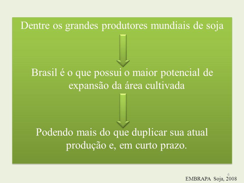 Dentre os grandes produtores mundiais de soja Brasil é o que possui o maior potencial de expansão da área cultivada Podendo mais do que duplicar sua a