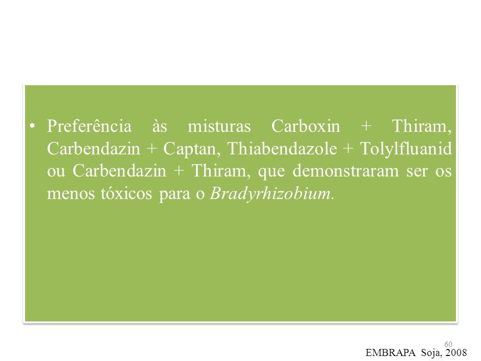 Preferência às misturas Carboxin + Thiram, Carbendazin + Captan, Thiabendazole + Tolylfluanid ou Carbendazin + Thiram, que demonstraram ser os menos t
