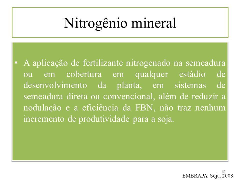 Nitrogênio mineral A aplicação de fertilizante nitrogenado na semeadura ou em cobertura em qualquer estádio de desenvolvimento da planta, em sistemas