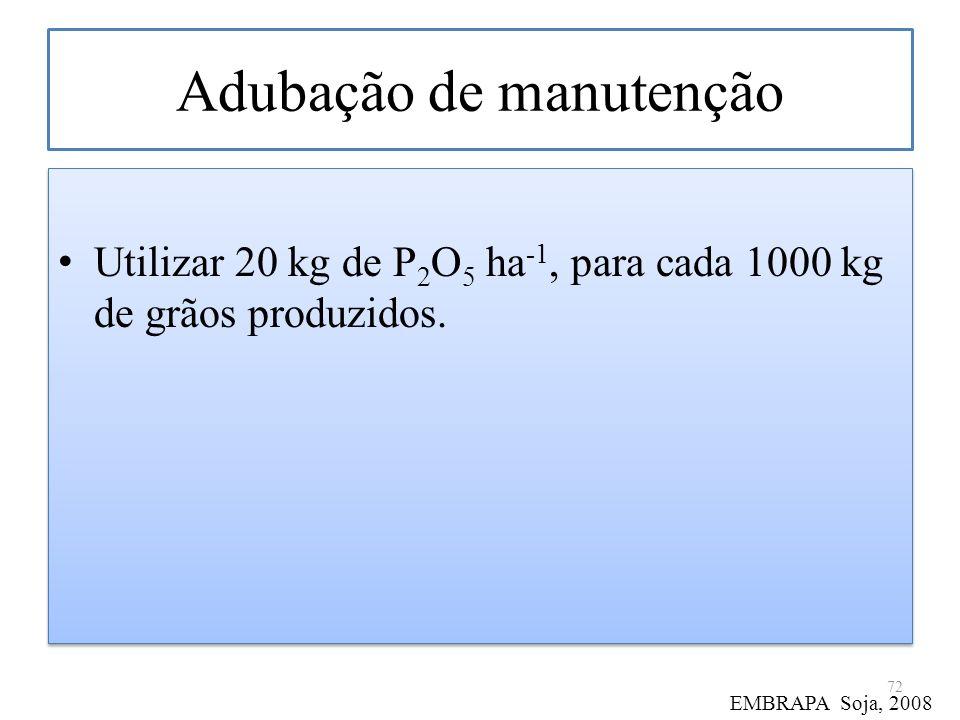 Adubação de manutenção Utilizar 20 kg de P 2 O 5 ha -1, para cada 1000 kg de grãos produzidos. 72 EMBRAPA Soja, 2008