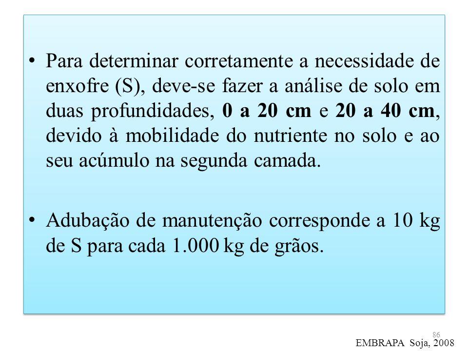 Para determinar corretamente a necessidade de enxofre (S), deve-se fazer a análise de solo em duas profundidades, 0 a 20 cm e 20 a 40 cm, devido à mob