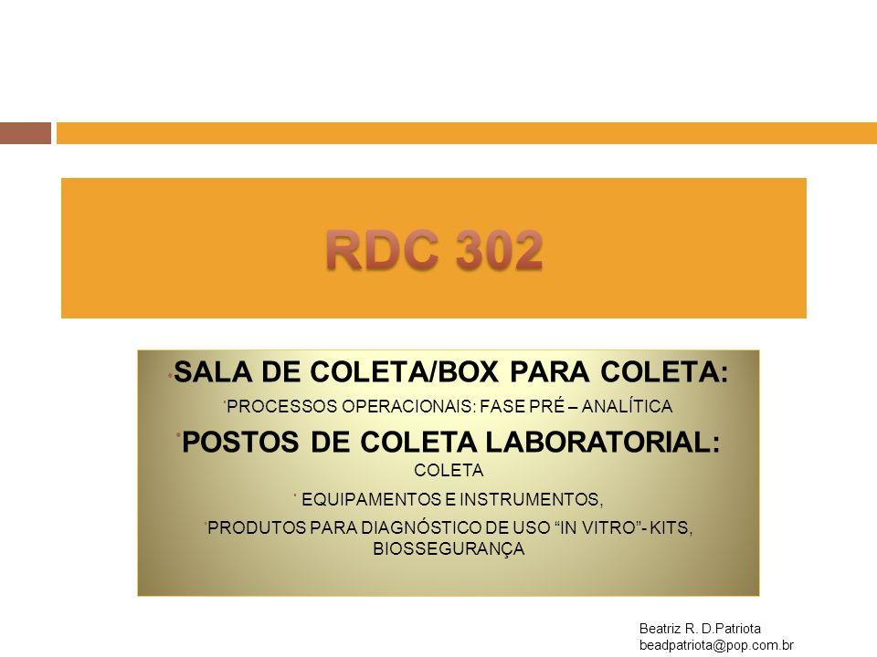 RDC302 – Roteiro para laboratório de Análises Clínicas 3Sala de Coleta/Box para Coleta SIMNÃONALegislação 3.1Sala ou Box de coleta de material.