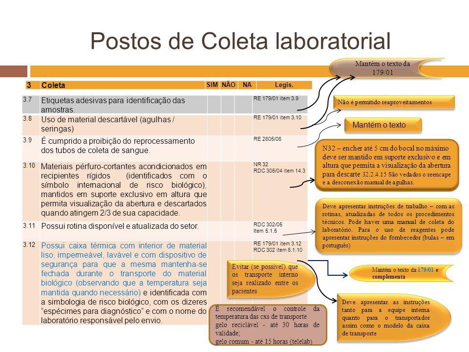 Postos de Coleta laboratorial 3.7 Etiquetas adesivas para identificação das amostras. RE 179/01 item 3.9 3.8 Uso de material descartável (agulhas / se