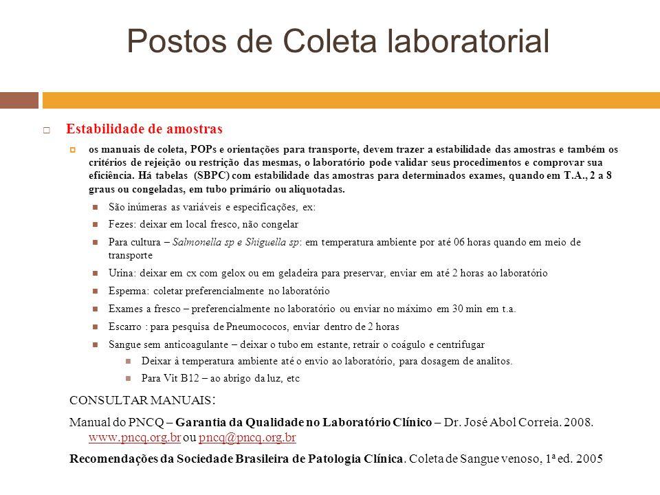Postos de Coleta laboratorial Estabilidade de amostras os manuais de coleta, POPs e orientações para transporte, devem trazer a estabilidade das amost